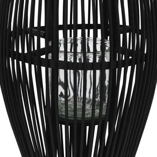 shumee Viseča laterna za svečo iz bambusa črna 60 cm