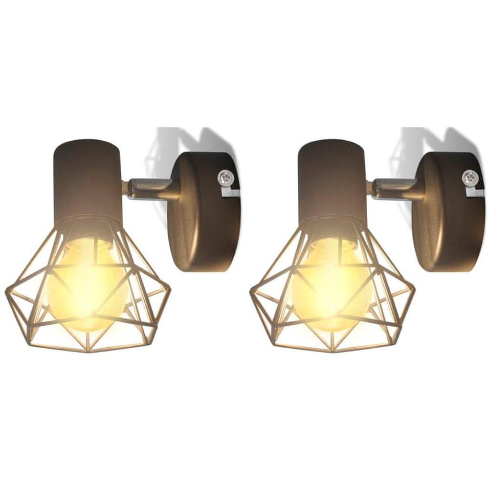 Vidaxl 2 černá industriální nástěnná svítidla, drátěná stínítka + LED žárovky