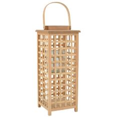 shumee Viseča laterna za svečo iz bambusa naravne barve
