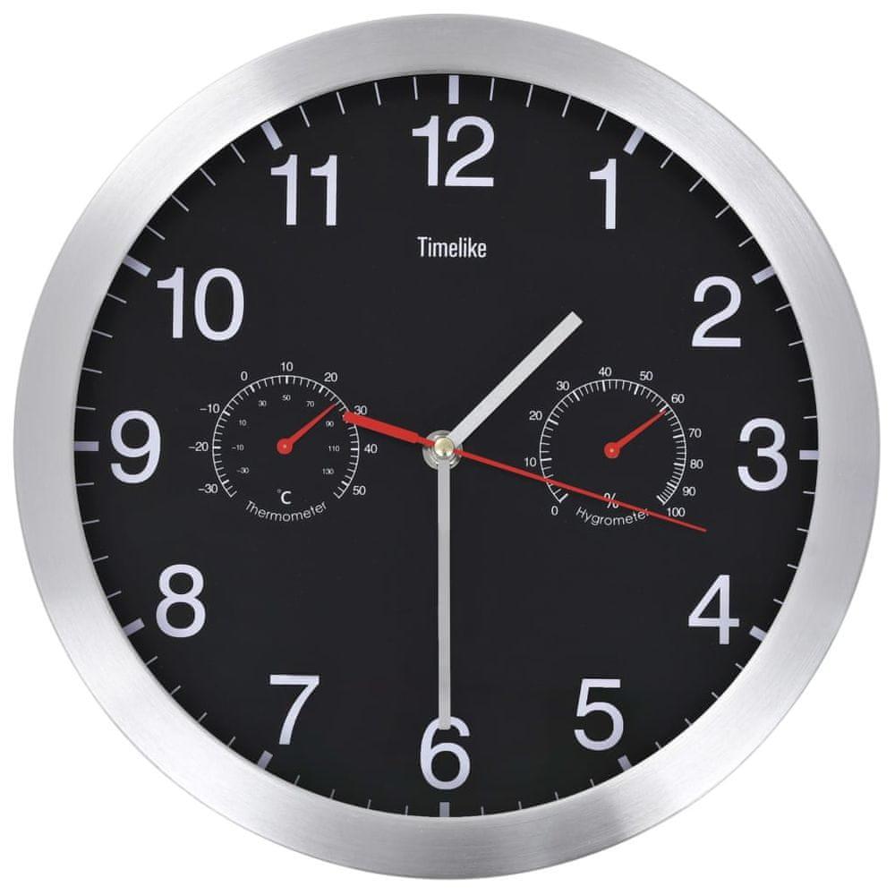 Nástěnné hodiny strojek Quartz vlhkoměr a teploměr 30 cm černé