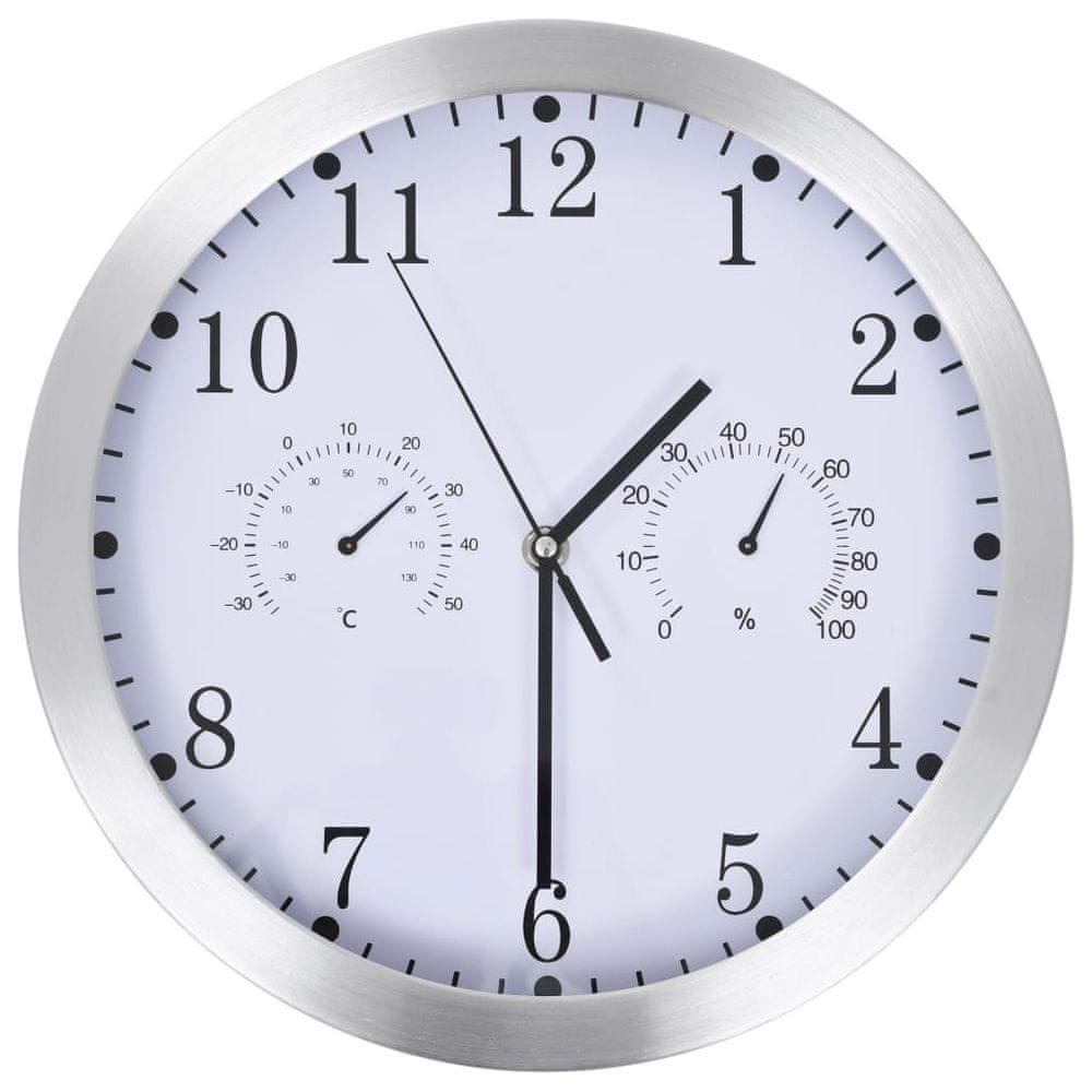 Nástěnné hodiny strojek Quartz vlhkoměr a teploměr 30 cm bílé
