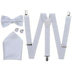 Greatstore Sada doplňků k pánskému obleku/smokingu, šle a motýlek, bílá