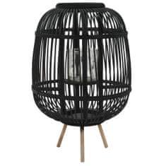 shumee Prostostoječa laterna za svečo iz bambusa črna