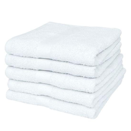 shumee Kopalne brisače 5 kosov bombaž 500 gsm 70x140 cm bele