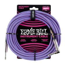 Ernie Ball 6069 25' Instrument Braided Cable - nástrojový kabel rovný / zahnutý jack - 7.62m - modrofialová barva