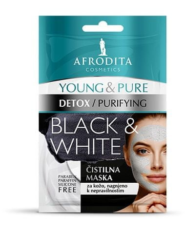 Kozmetika Afrodita Young & Pure Black & White maska za obraz, 2x5 ml