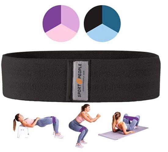 Sport2People tekstilna elastika za vježbanje, L, crna