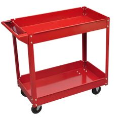 shumee Dílenský vozík se 2 policemi a 4 kolečky 100 kg červený