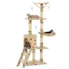 Vidaxl Škrabadlo pro kočky sisalové sloupky 138 cm béžové s tlapkami