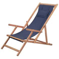shumee Skladacie plážové kreslo, látka a drevený rám, modré