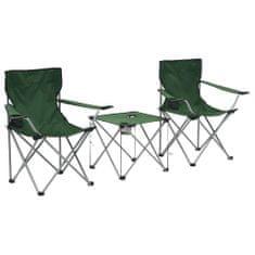 shumee 3-dielna súprava kempingového stola a stoličiek zelená