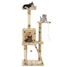 Vidaxl Škrabadlo pro kočky sisalové sloupky 120 cm béžové s tlapkami