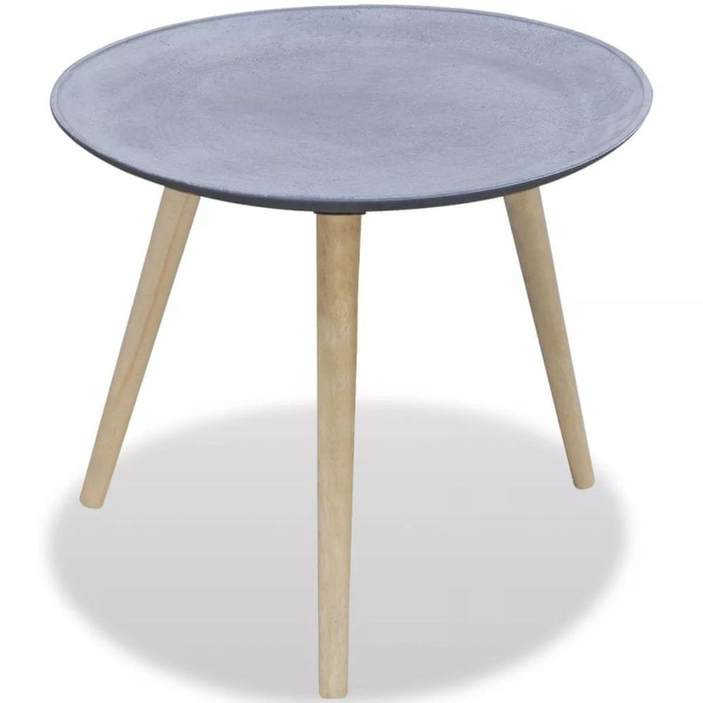 Vidaxl Kulatý odkládací / konferenční stolek šedý, vzhled betonu
