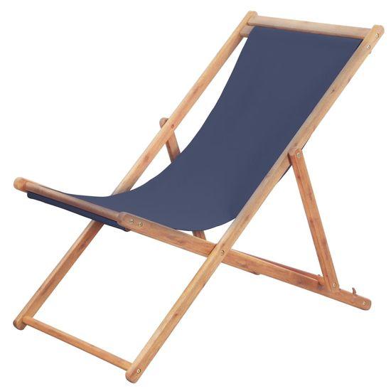 shumee Zložljiv stol za na plažo blago in lesen okvir modre barve