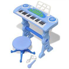 shumee Otroški Sintisajzer s Stolčkom/Mikrofonom 37 Tipk Modre Barve