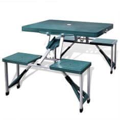 shumee Zelený skladací kempingový set - stôl so 4 stoličkami, extra ľahký