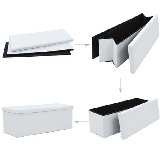 shumee Zložljiva klop za shranjevanje umetno usnje 110x38x38 cm bela