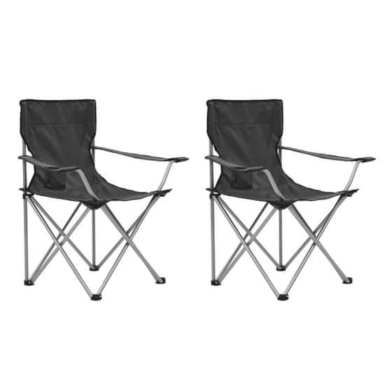 Kempingový stůl a židle sada 3 kusů šedé