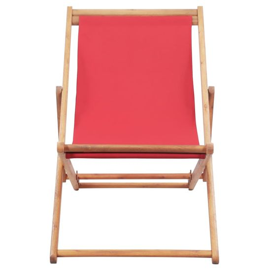 shumee Zložljiv stol za na plažo blago in lesen okvir rdeče barve
