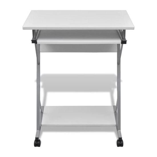 shumee Računalniška miza z izvlečno polico za tipkovnico Beli zaključek