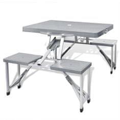 shumee Šedý skladací kempingový set - stôl so 4 stoličkami, extra ľahký