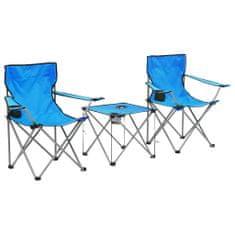 Kempingový stůl a židle sada 3 kusů modré
