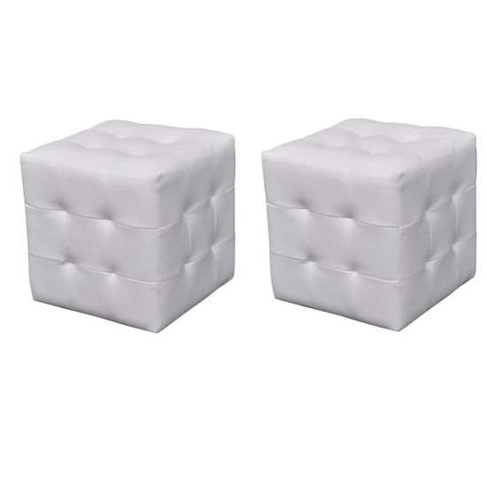 shumee 2 x Kocka / Stolček za Sedenje Bele Barve
