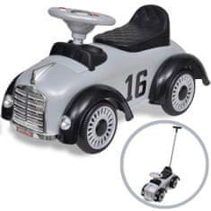 Greatstore Šedé retro dětské odrážedlo auto s vodicí tyčí