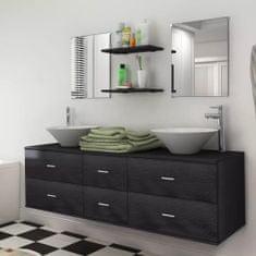 shumee 9 részes fürdőszobabútor szett mosdótállal és csappal fekete