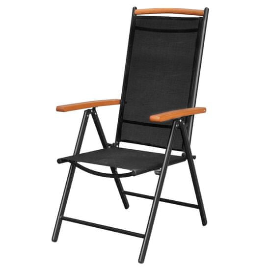 shumee 4 db fekete összecsukható alumínium és textilén kerti szék