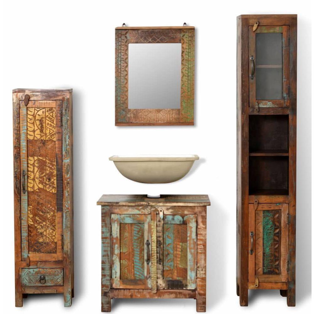 Koupelnový set 3 různých skříněk z recyklovaného masivu, zrcadlo