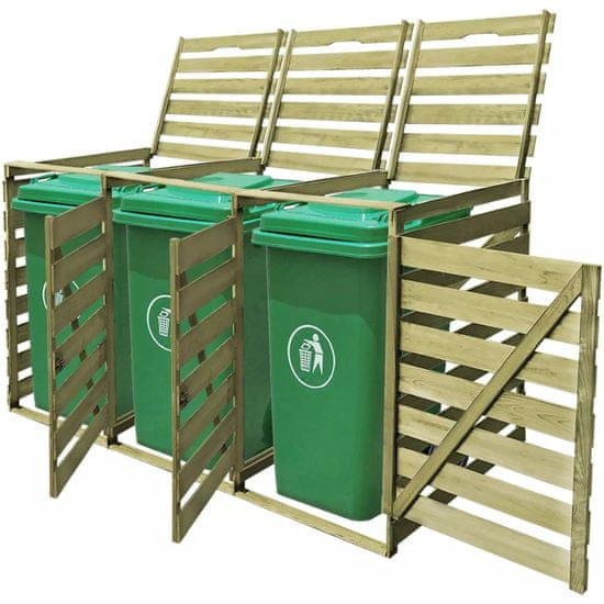 Greatstore Ohrada na tri odpadkové koše 240 l, impregnované drevo