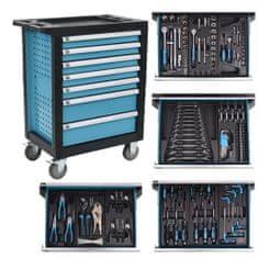 shumee Delovni voziček z 270 orodji Jeklo modro