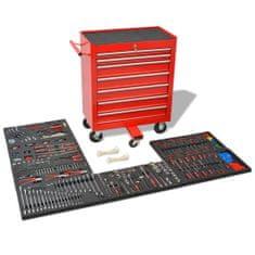 shumee Delavniški voziček za orodje s 1125 kosi orodja jeklo rdeč