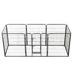 shumee Ograda za pse z 8 jeklenimi paneli 80x100 cm črne barve