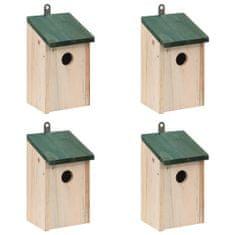 shumee Domki dla ptaków, 4 szt., drewniane, 12 x 12 x 22 cm