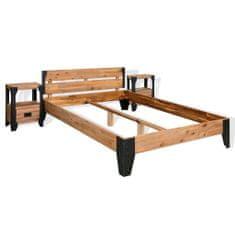 Petromila Rám postele s 2 nočnými stolíkmi, akáciové drevo, oceľ, 140x200 cm