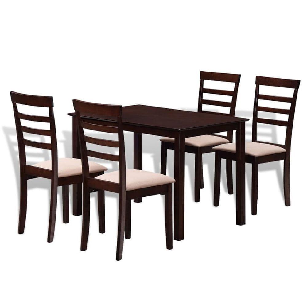 Vidaxl Hnědo-krémový jídelní set: stůl z masivu + 4 židle