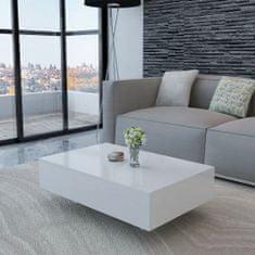 shumee Konferenčný stolík, lesklý, biely