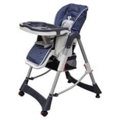 shumee Luksuzni stolček za hranjenje z nastavljivo višino temno moder