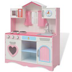 shumee Lesena otroška kuhinja 82x30x100 cm roza in bele barve