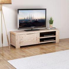 shumee TV Omarica iz Masivnega Brušenega Lesa Akcije 140x38x40 cm