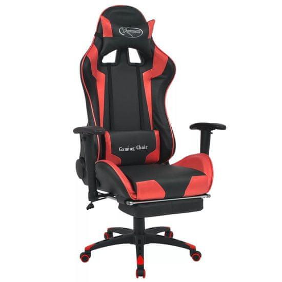 shumee Regulowane krzesło biurowe z podnóżkiem, czerwone