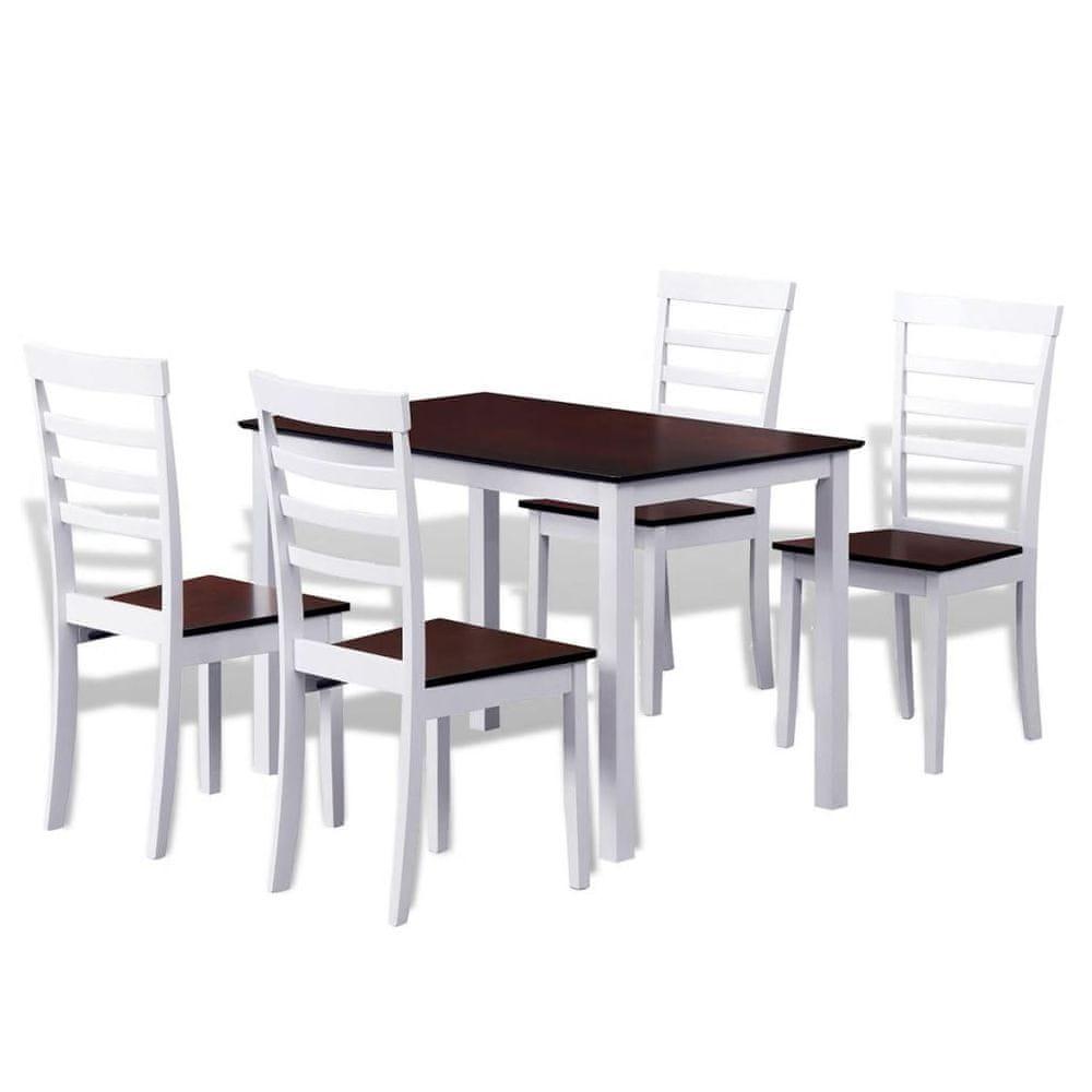 Vidaxl Hnědo-bílý jídelní set: stůl z masivu + 4 židle