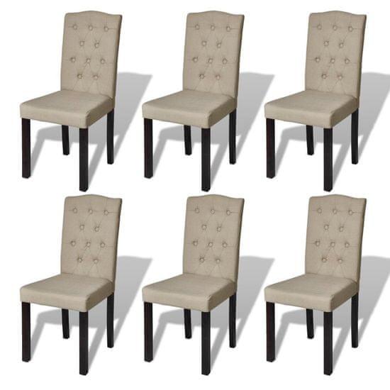 shumee Krzesła stołowe, 6 szt., beżowe, tkanina