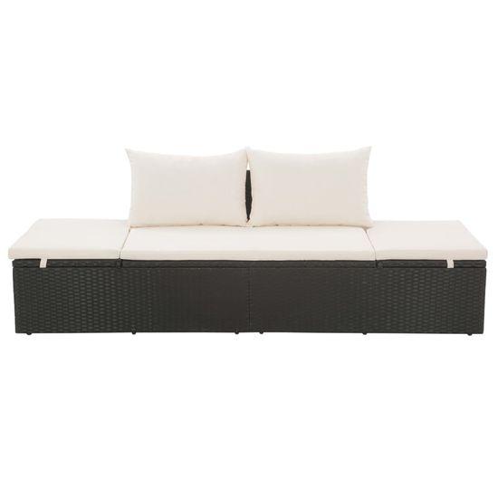 shumee Vrtna postelja poli ratan 195x60 cm črna