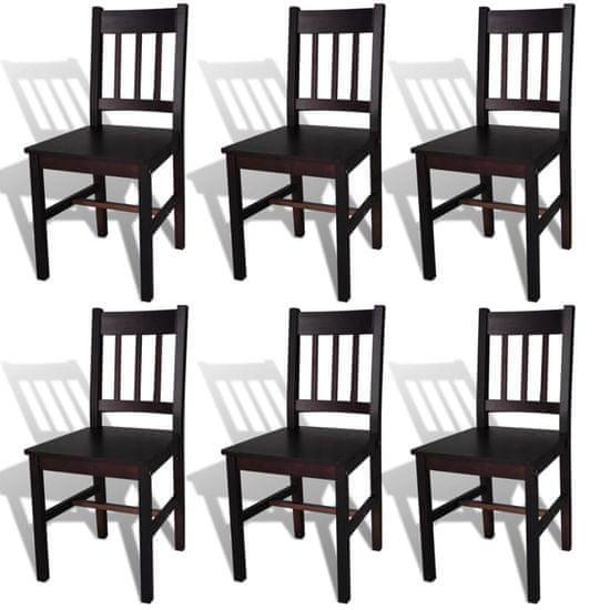 shumee Jedilni stoli 6 kosov temno rjava borovina