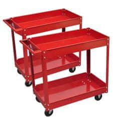 shumee 2 x Rdeči Voziček za Delovno Orodje 2 polici do 100 kg