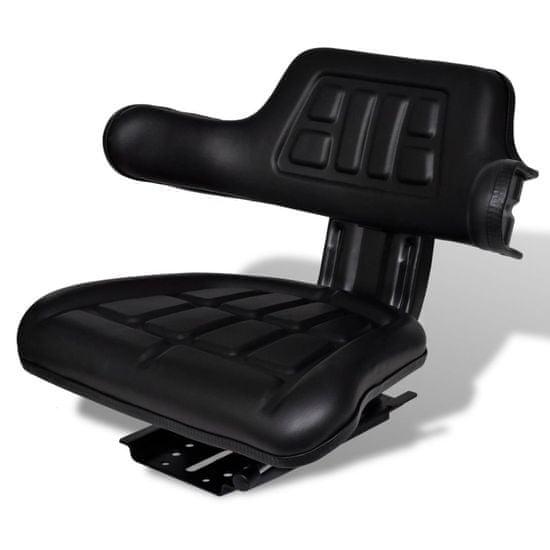 shumee Sedež za traktor s hrbtnim naslonjalom črne barve