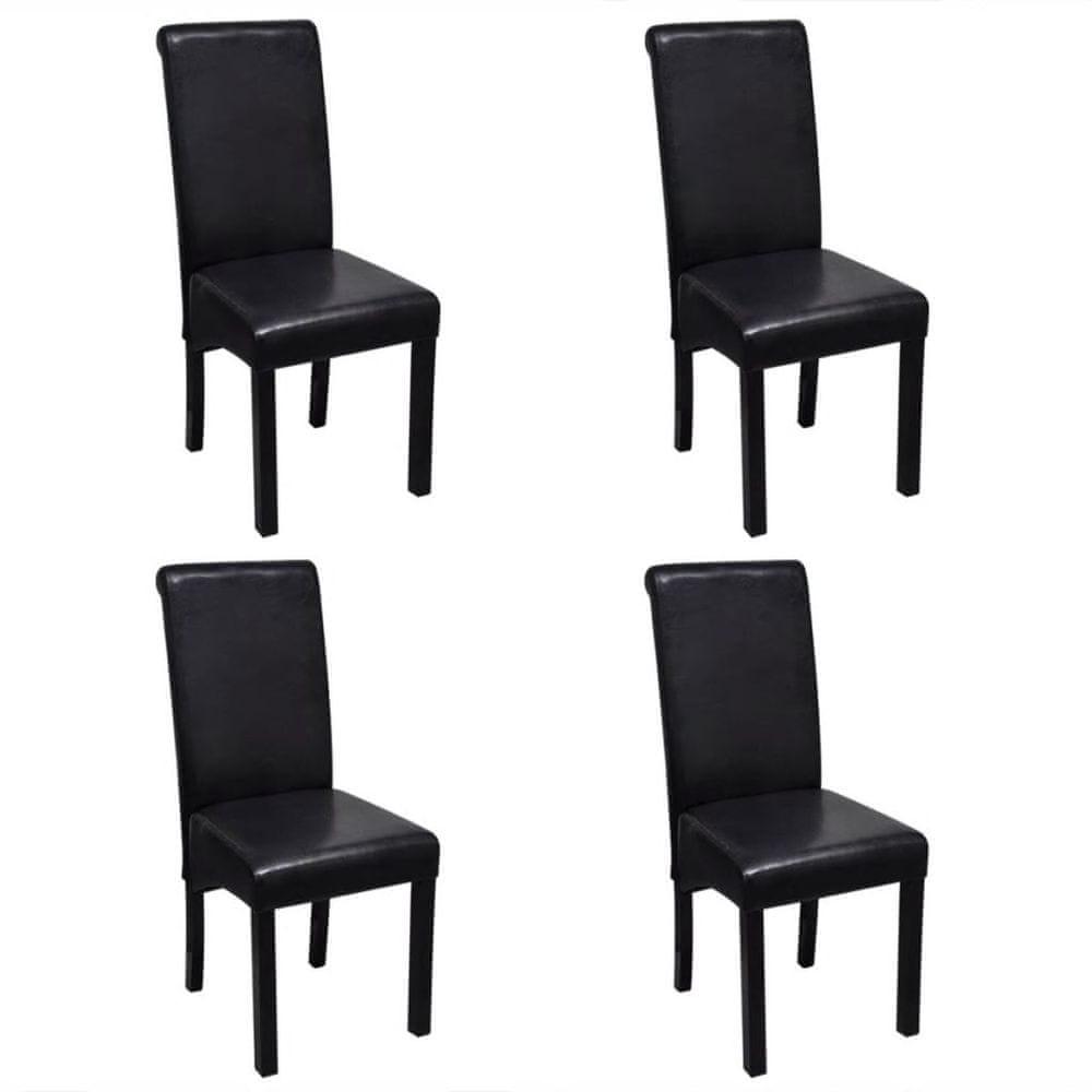 Jídelní židle 4 ks černé umělá kůže
